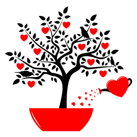 vector heart tree in pot and heart watering can isolated on white background Stock Vector - 24472979