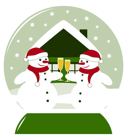 vector snow ball with pair of snowmen with glasses of champagne Stock Vector - 24472981