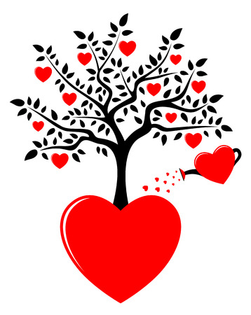 vector heart tree growing from heart and heart watering can isolated on white background Vector