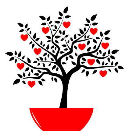 vector heart tree in pot isolated on white background Vector