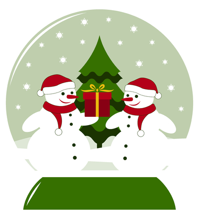 vector snow ball with pair of snowmen with gift Stock Vector - 24527932