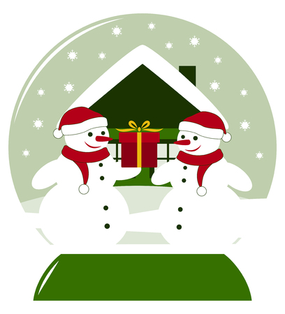vector snow ball with pair of snowmen with gift Vector