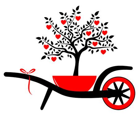 vector kruiwagen en hart boom in pot geïsoleerd op witte achtergrond