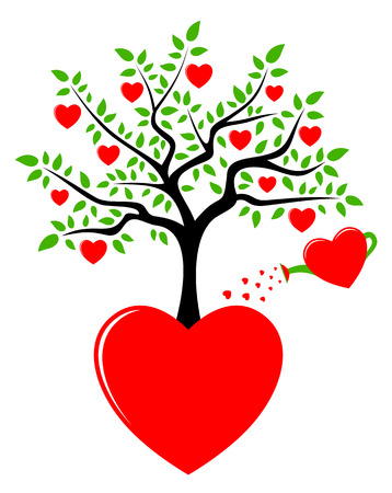 heart tree growing from heart and heart watering can isolated on white