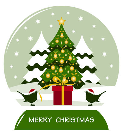 snow ball with pair of birds with gift and christmas tree Vector