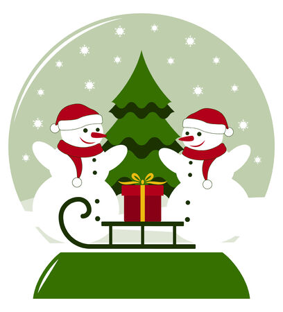 snow ball with pair of snowmen and sledge with gift Vector