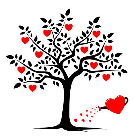 árbol de corazón de vector y regadera de corazón aislada sobre fondo blanco