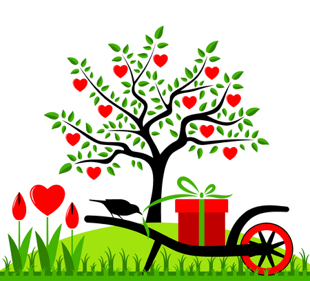 vector heart tree, wheel barrow with gift and heart flowers Vector