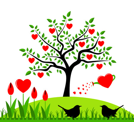 vector heart tree with heart watering can and pair of birds Vector