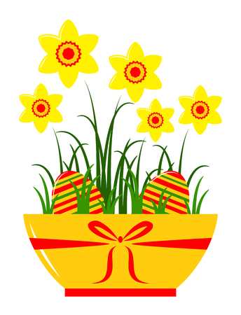 vector daffodils and easter eggs in pot isolated on white background Vector