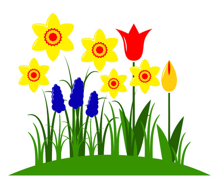clump: vector spring flowers isolated on white background Illustration