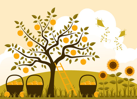 vector apple tree with baskets of apples and sunflowers Vector
