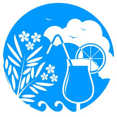 oleander: vector oleander and beach cocktail on blue round Illustration