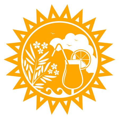 laurier rose: vecteur de lauriers roses et de la plage cocktail soleil isol� sur fond blanc Illustration