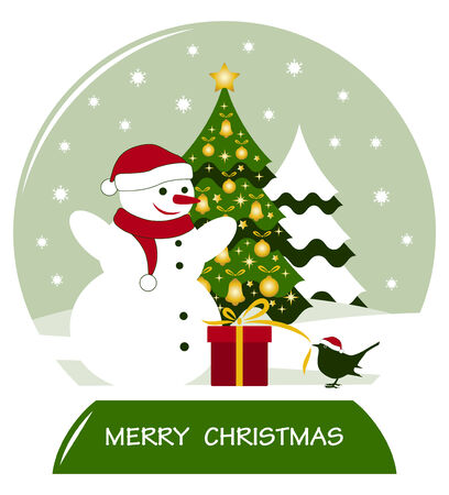 vector snow ball with snowman, bird with gift and christmas tree Stock Vector - 25994950