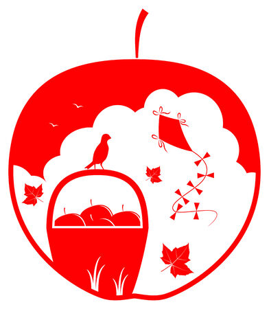 vector basket of apples, fallen leaves and kite in apple Stock Vector - 25995256