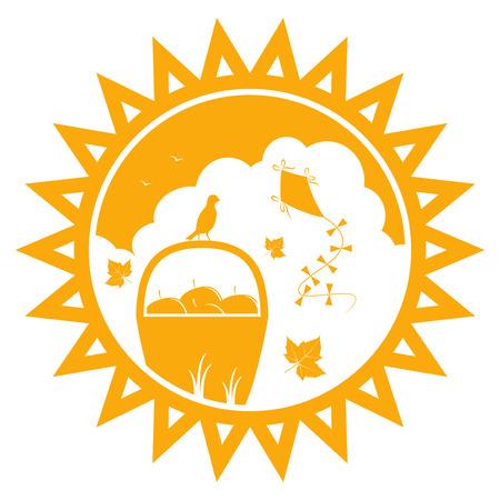 vector basket of apples, fallen leaves and kite in sun Stock Vector - 25995350