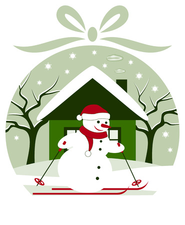 vector christmas ball with snowman skier in snowy garden Vector
