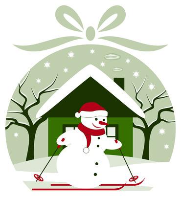 vector christmas ball with snowman skier in snowy garden Vector
