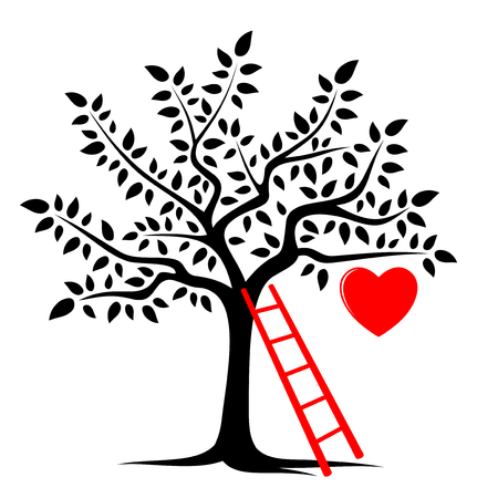 vector tree with one big heart and ladder isolated on white background Vector