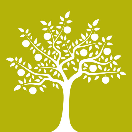 apple orchard: vector apple tree isolated on green background