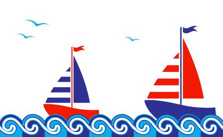 vector seamless nautical border Illustration