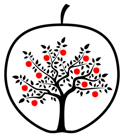 vector apple tree in apple isolated on white background Vector
