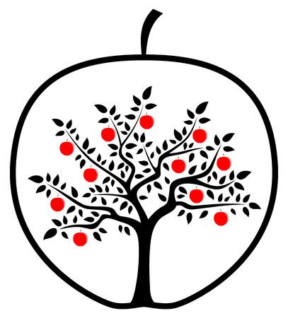 arbre vecteur de pomme dans la pomme isolé sur fond blanc