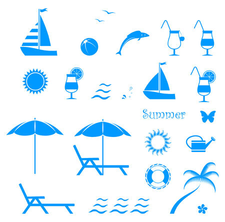 oleander: collection of vector summer icons isolated on white background