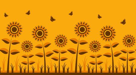 seamless vector sunflowers border Vector