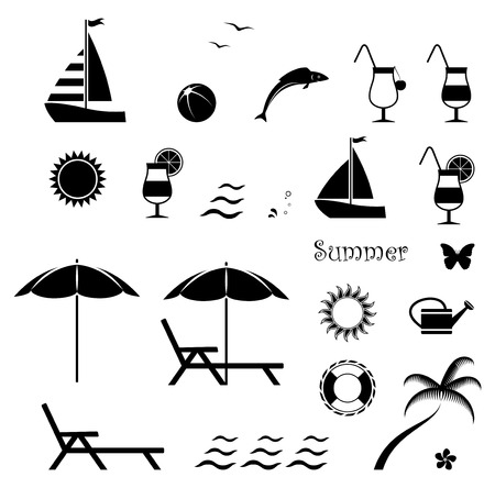 collection of vector summer icons isolated on white background Vector