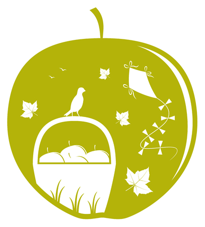 vector basket of apples, fallen leaves and kite in apple Vector