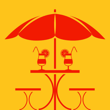 vector table with umbrella isolated on yellow background Vector