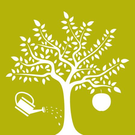 big tree: vector apple tree with one big apple and watering can isolated on green background