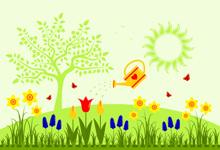 spring bed: vector bed of spring flowers and watering can