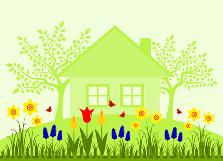 spring bed: vector bed of spring flowers, flowering trees and cottage Illustration