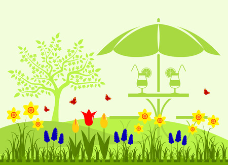 spring bed: vector bed of spring flowers and table with umbrella