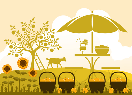 vector table with umbrella, baskets of apples and sunflowers in garden Vector