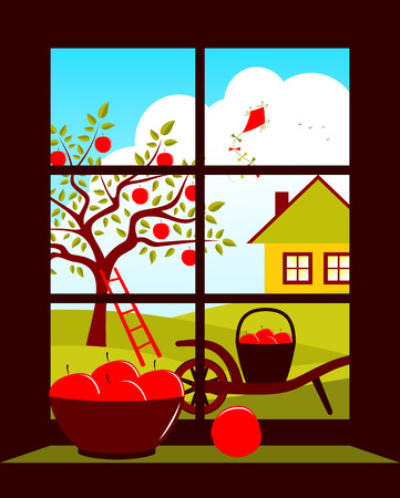 vector apple tree and cottage outside the window Vector