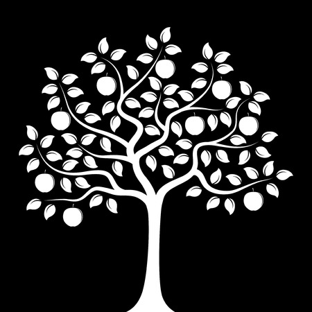 vector apple tree isolated on black background