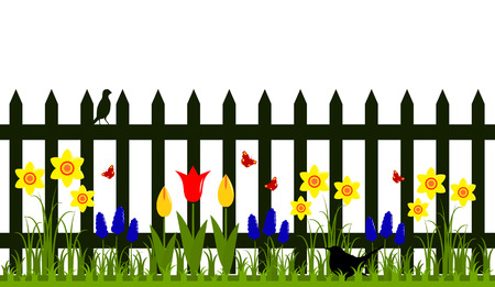 vector picket fence with spring flowers isolated on white background Vector