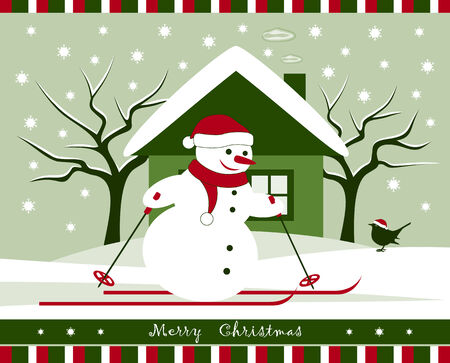 vector christmas snowman skier in snowy landscape Vector