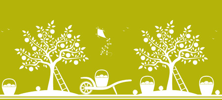 vector seamless border with apple trees, hand barrows and baskets of apples isolated on green background Vector
