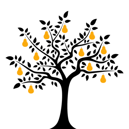 vector pear tree isolated on white background Ilustração