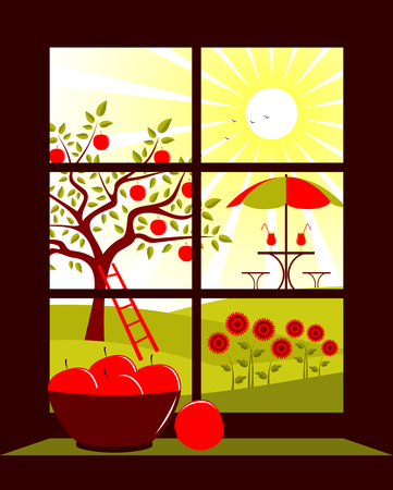 vector table and chairs with umbrella in garden outside the window Vector