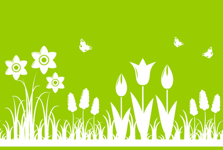 tuft: seamless spring flowers border isolated on green background Illustration