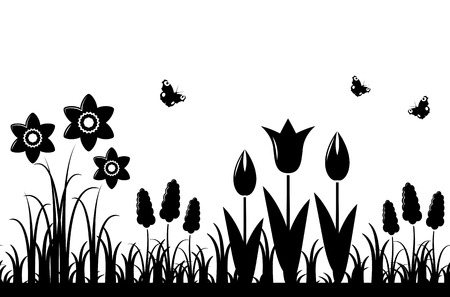 vector seamless spring flowers border isolated on white background Vector