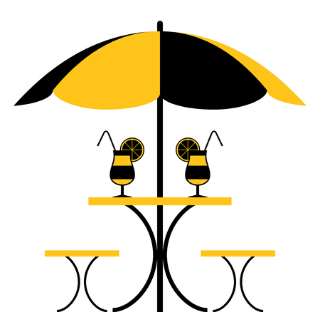vector table with umbrella and cocktails isolated on white background