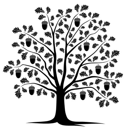 vector oak tree isolated on white background Illustration