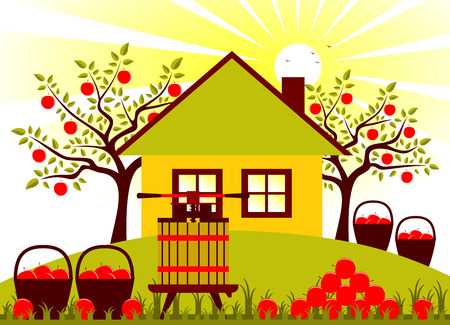 vector fruit press, baskets of apples and pile of apples in garden Vector